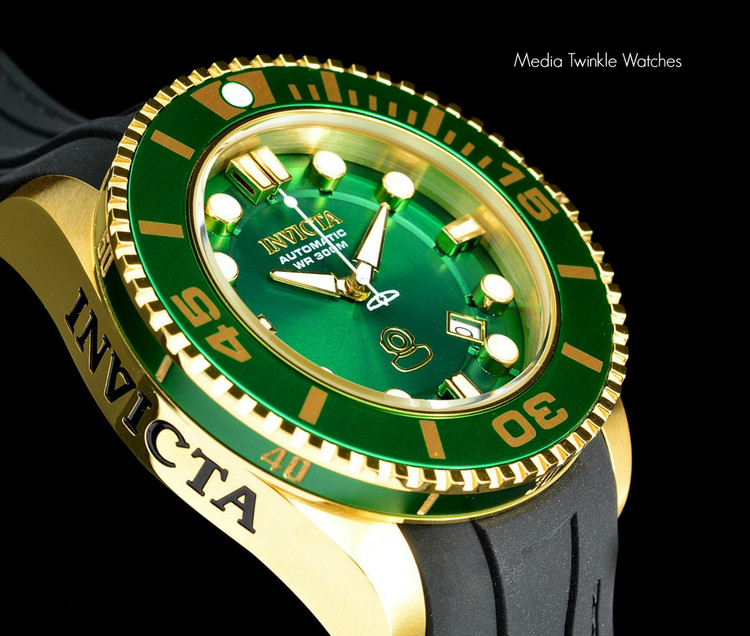 Invicta 20202 Grand Diver 2 Gen II 47mm Automatic Green Dial Gold Tone Bezel Polyurethane Strap Watch | Free Shipping