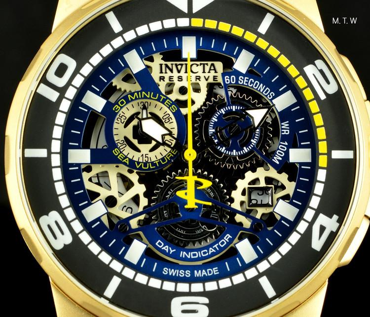 Invicta 18948 Reserve Men's Sea Vulture Swiss Quartz Chronograph Gold Tone Blue Silicone Strap | Free Shipping