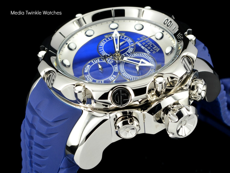 invicta 20397 Sea Dragon Swiss Made Chronograph Blue Dial Silver Case Silicon Strap Watch   Free Shipping