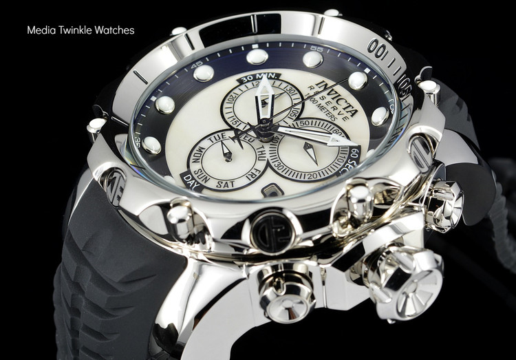 invicta 20395 Sea Dragon Swiss Made Chronograph Silver Dial Silver Case Black Silicon Strap Watch   Free Shipping
