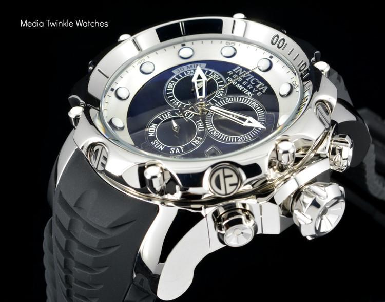 Invicta 20396 Sea Dragon Swiss Made Chronograph Black Dial Silver Case Black Silicon Strap Watch   Free Shipping