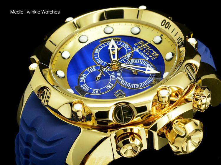 invicta 20402 Sea Dragon Gen. II Swiss Made Chronograph Blue Dial 18k Gold Tone Case Silicon Strap Watch   Free Shipping