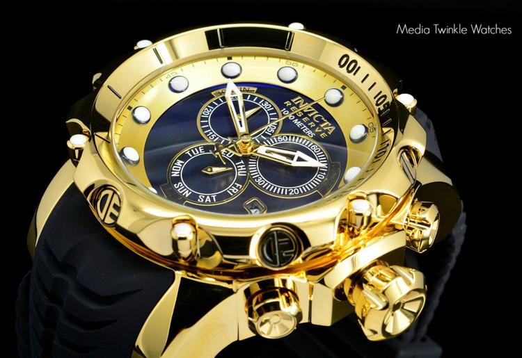 invicta 20401 Sea Dragon Gen. II Swiss Made Chronograph Black Dial 18k Gold Tone Case Silicon Strap Watch   Free Shipping