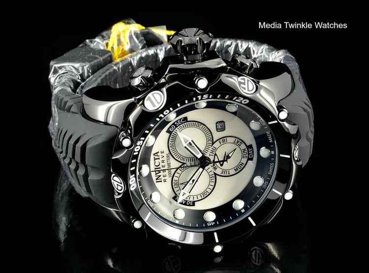 Invicta 20398 Sea Dragon Gen. II Swiss Made Chronograph White MOP Dial Silver Case Black Silicon Strap Watch   Free Shipping