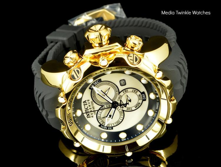 Invicta 20400 Sea Dragon Gen. II Swiss Made Chronograph White Dial 18k Gold Tone Case Silicon Strap Watch   Free Shipping