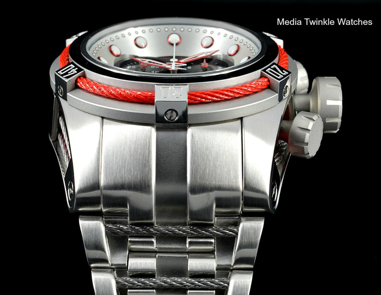 Invicta 22159 Reserve Bolt Zeus Swiss Quartz Chronograph Black Dial Red Bezel Bracelet Watch   Free Shipping