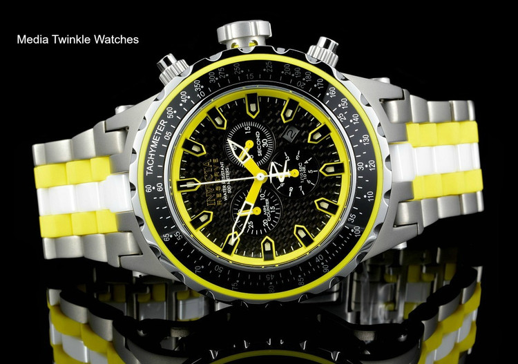 Invicta 52mm 12778 Reserve Specialty Subaqua Yellow Dial Titanium Case Bracelet Watch