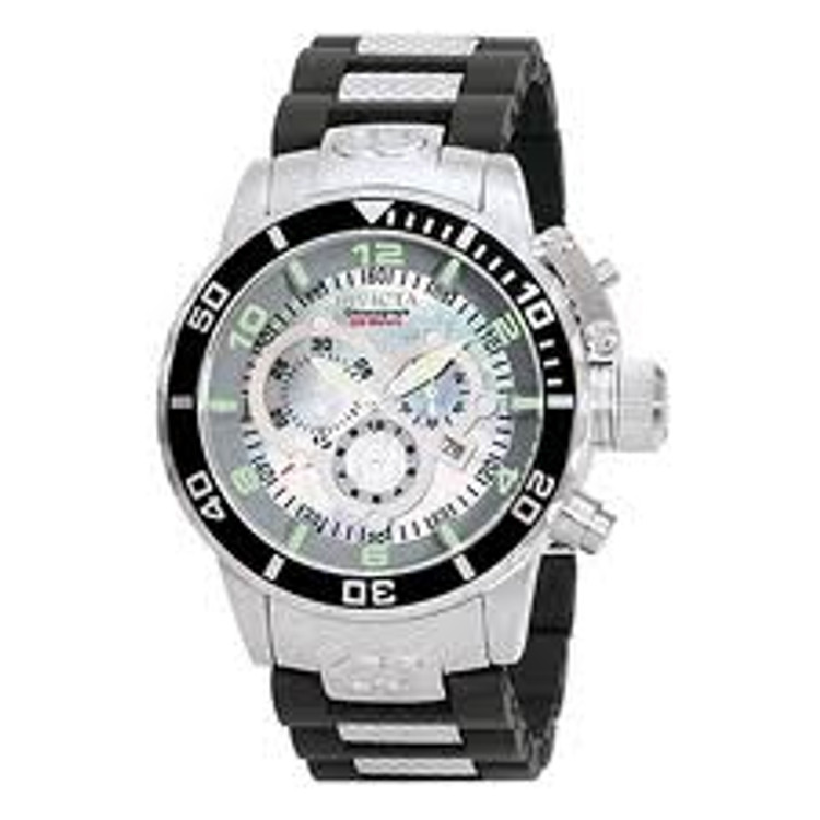 Invicta 0476 Men's Corduba Collection Chronograph Black Polyurethane M.O.P Dial Watch | Free Shipping