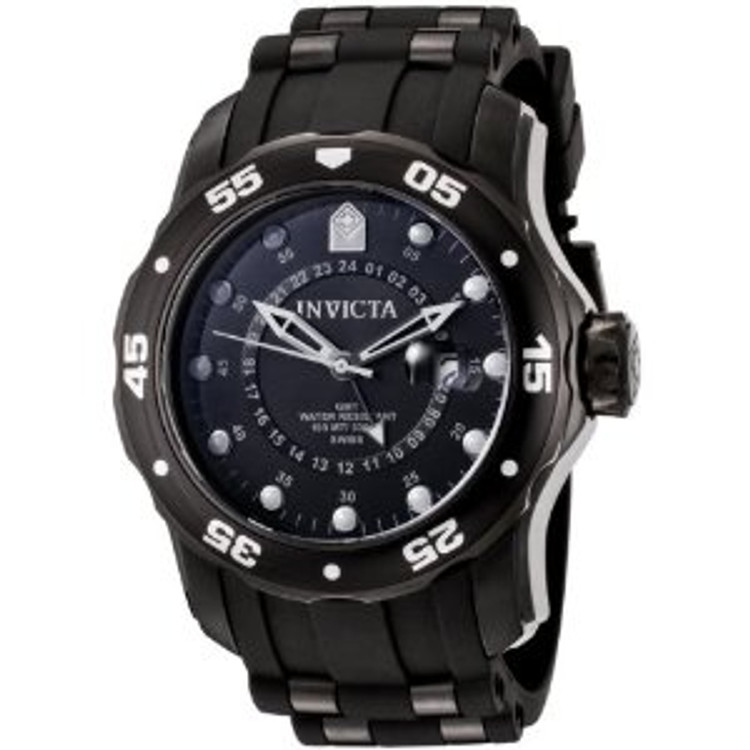 Invicta 6996 Men's Pro Diver Collection GMT Black Dial Black Polyurethane Watch | Free Shipping