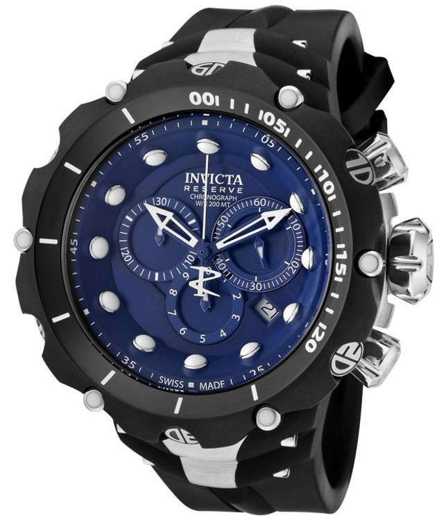 Invicta 1519 Reserve VENOM II Second Generation Swiss Made Chronograph Blue Dial Black and Silver Stainless Steel Case Polyurethane Watch (NEW MODEL) | Free Shipping