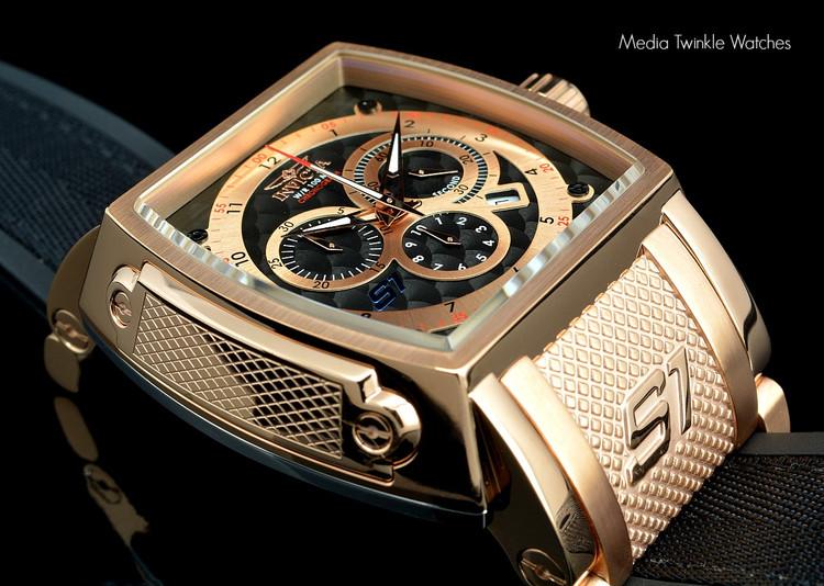 Invicta 1083 S1 Swiss Quartz Chronograph 18k Rose Gold Case Black Polyurethane and Nylon Watch   Free Shipping