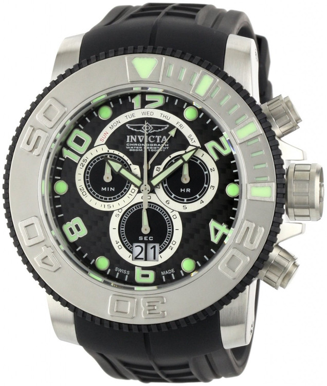 Invicta 0412 Men's Pro Diver Collection Sea Hunter Chronograph Black Polyurethane Watch PLUS 3 SLOT DIVE CASE | Free Shipping