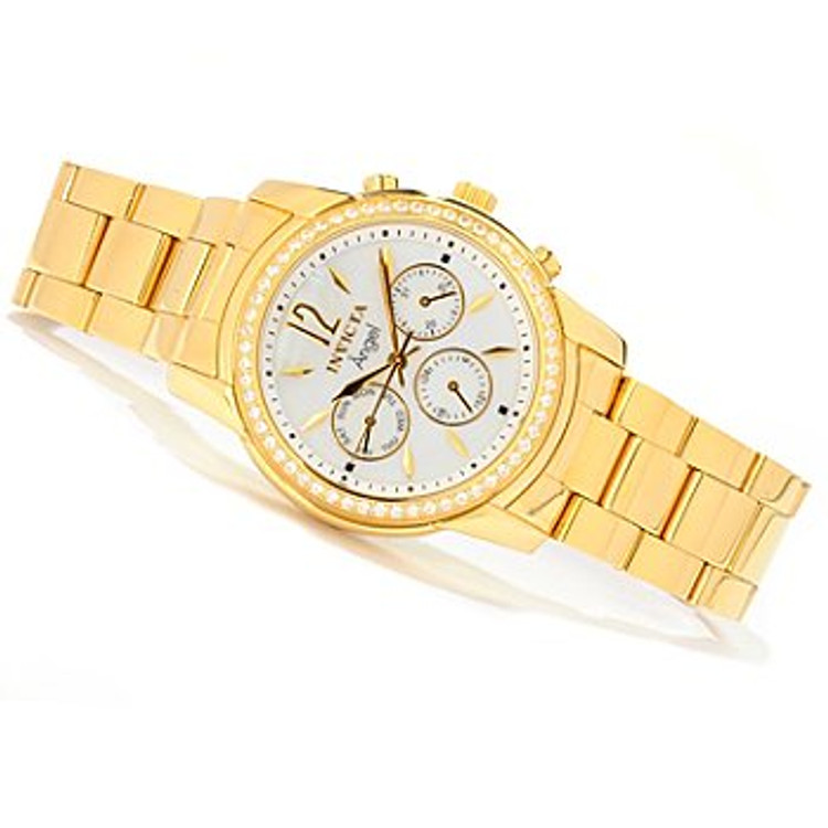 Invicta Women's Angel Simulated Diamond Accented Bezel Bracelet Watch | Free Shipping