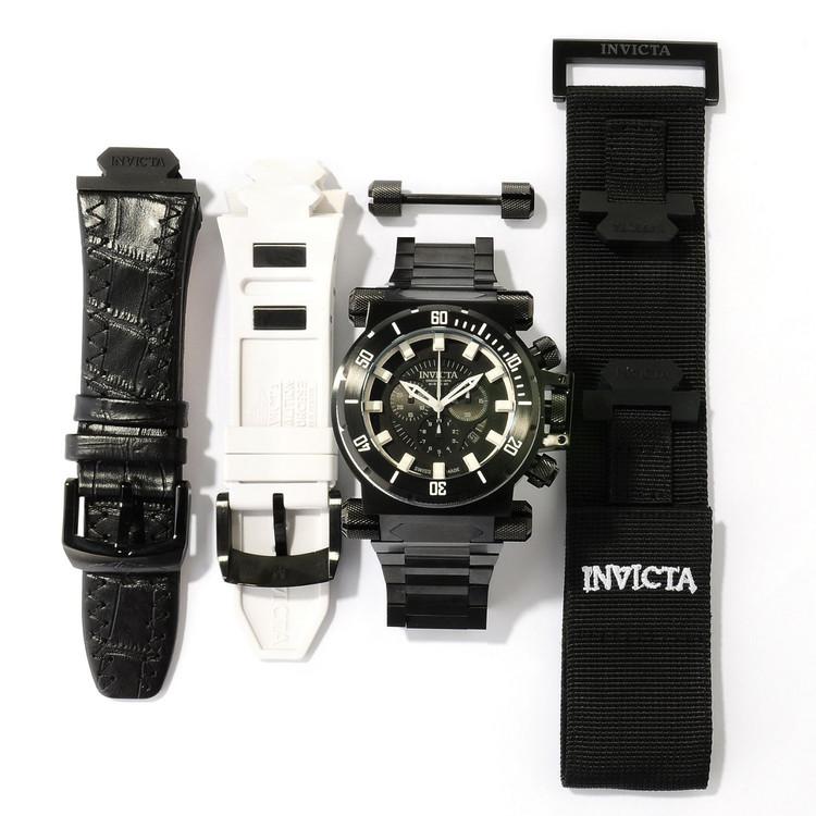 Invicta 10033 Men's Coalition Forces Black Label Swiss Made Quartz Chronograph Bracelet Watch PLUS 3 SLOT DIVE CASE | Free Shipping
