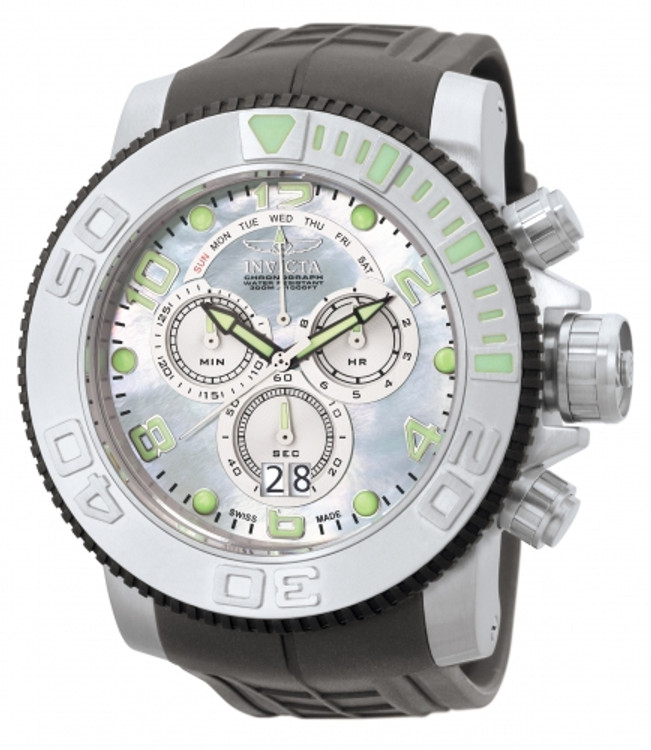 Invicta 0861 Men's Pro Diver Collection Sea Hunter Swiss Chronograph Platinum MOP Dial Grey Polyurethane Watch | Free Shipping