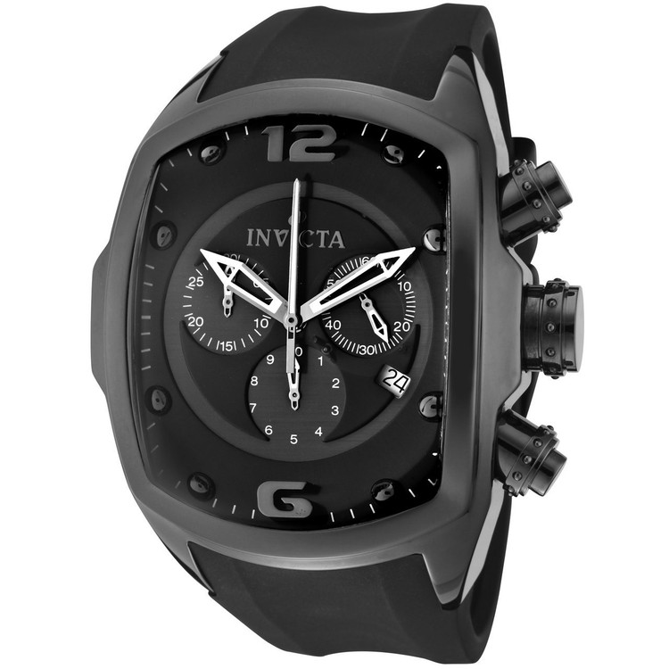 Invicta 0312 Men's Lupah Revolution Ceramic Swiss Chronograph Black Dial Polyurethane Strap Watch | Free Shipping