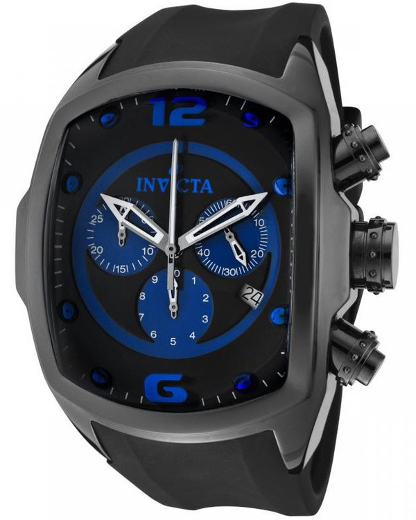 Invicta 0314 Men's Lupah Revolution Ceramic Swiss Chronograph Blue Dial Black Polyurethane Strap Watch | Free Shipping