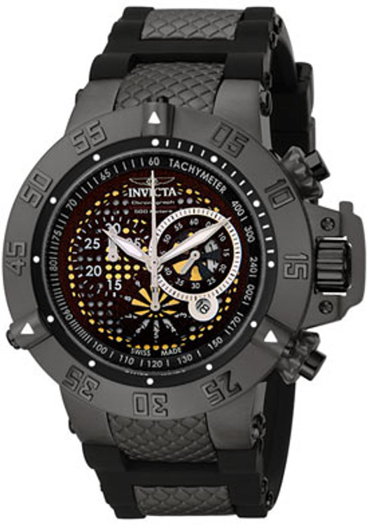 Invicta 6043  Men's Subaqua Noma III Swiss Quartz Chronograph Black Ion-Plated Polyurethane Strap Watch | Free Shipping