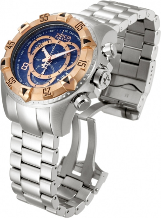 Invicta 10999 Reserve Men's Excursion Blue Dial Rose Tone Bezel Swiss Quartz Chronograph Bracelet Watch | Free Shipping