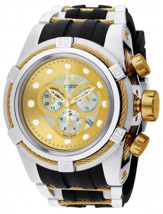 Invicta 0828 Reserve Bolt Zeus Swiss Made Quartz Chronograph Mother-of-Pearl Dial Polyurethane Strap Watch (Zeus)   Free Shipping