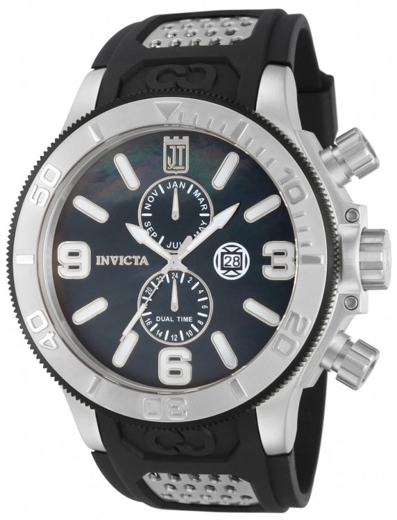 Invicta 13687 Jason Taylor Collection Quartz GMT Black M.O.P Black Polyurethane Strap Watch | Free Shipping