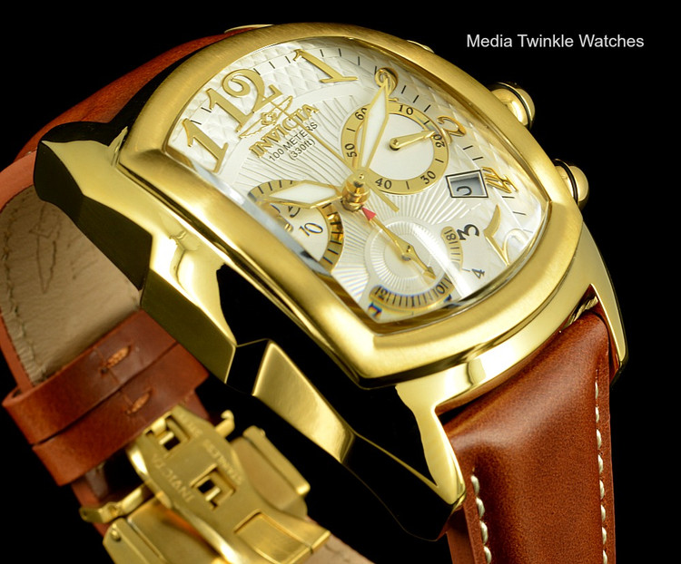 Invicta 13693 Men's Dragon Lupah Swiss Quartz Chronograph Gold Tone Brown Leather Strap Watch | Free Shipping