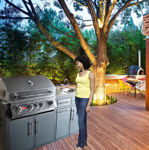 """32S-P12 Outdoor-Kitchen w/sink & 32"""" grill cutout  (Grill Sold Separately)"""