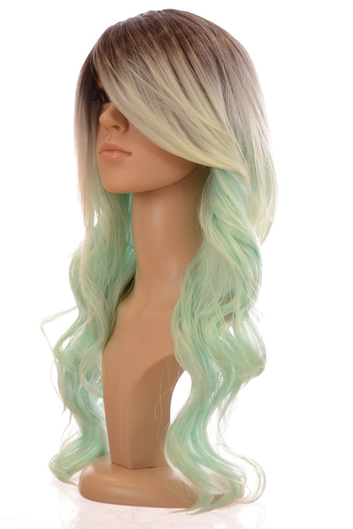 Kesha Rooted Pastel Mint Green Beach Wave Wig