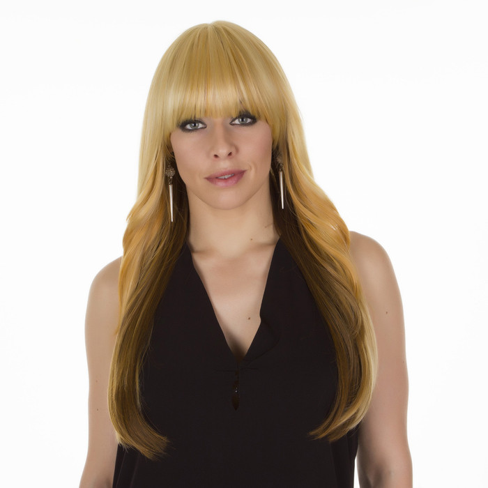 Solange Caramel Brown Long Straight Wig with Fringe