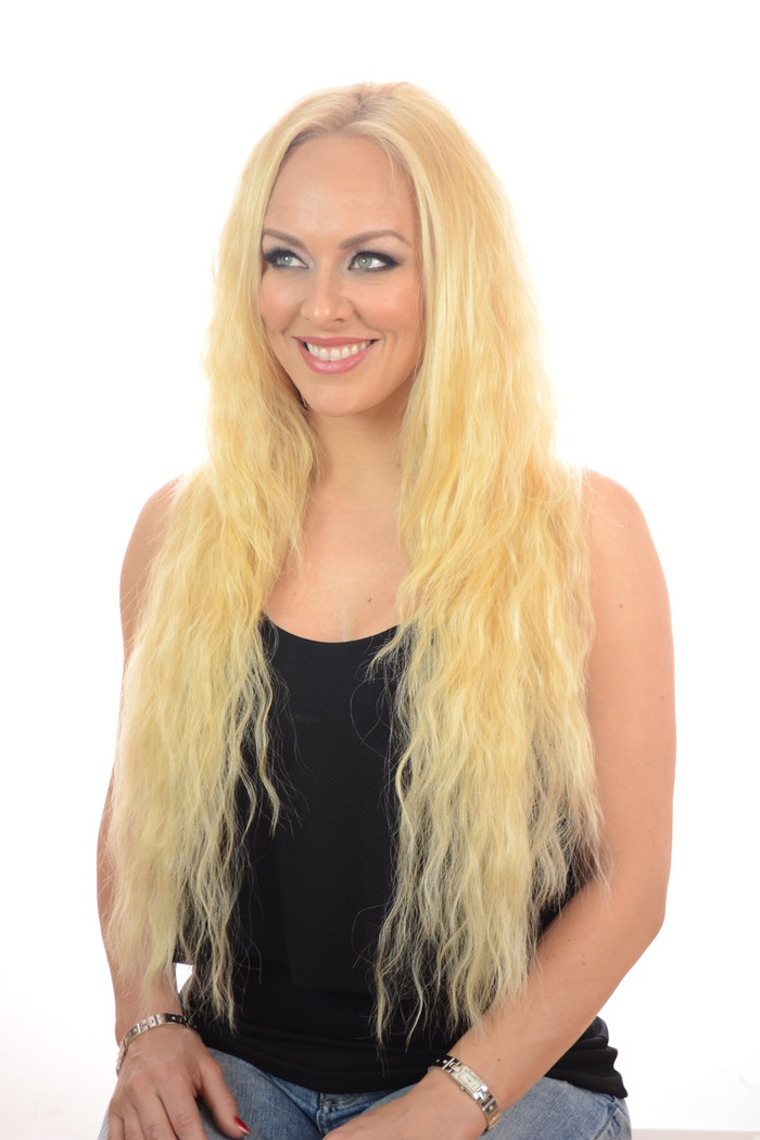 V Tress Crimp Texture Half Wig Candy Blonde