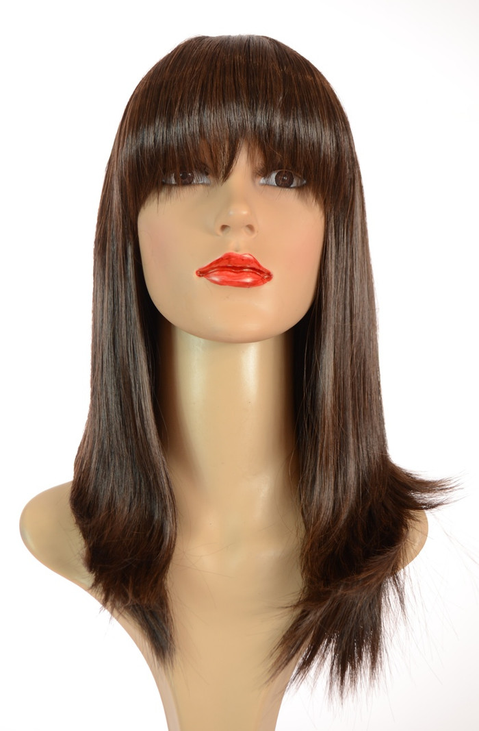 Short Dallas Mid Length Straight Brown Wig
