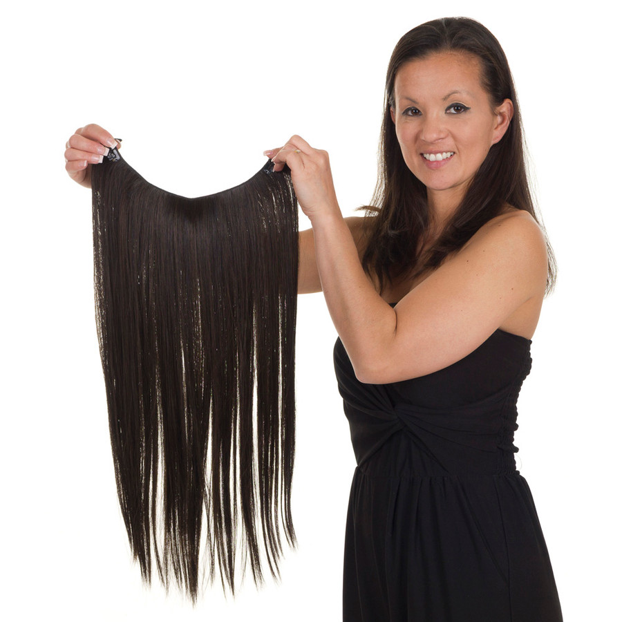 Click & Flick One piece hair extension hairpiece.