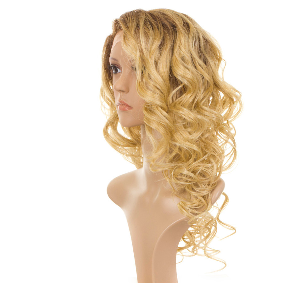 Holly Rooted Apricot Blonde Long Curly Wig