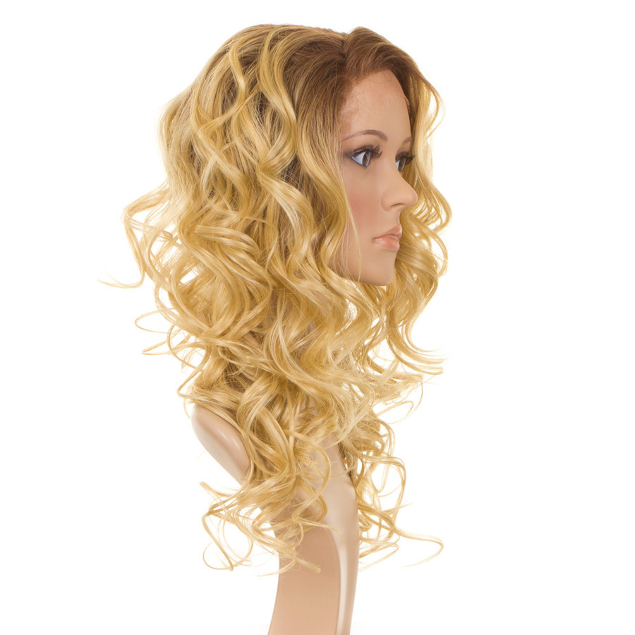 Holly Rooted Apricot Blonde Human Hair Blend Wig