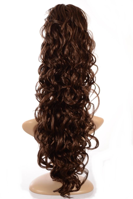 Claw Grip Ringlet Curly Hair Piece Ponytail Clip: Dark Chocolate Brown