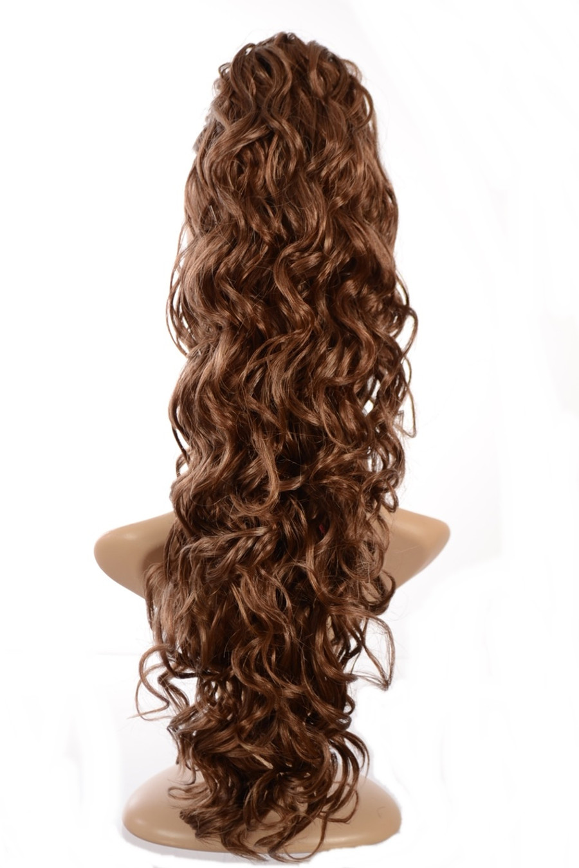Claw Grip Ringlet Curly Hair Piece Ponytail Clip: Warm Hazelnut Brown