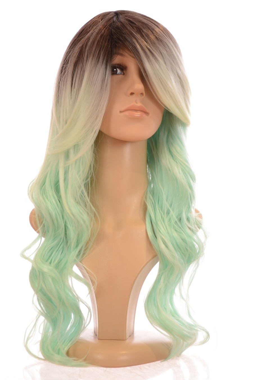 Kesha Long Beach Wave Pastel Peppermint Green Wig