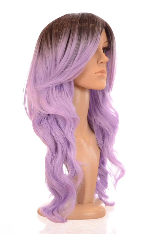 Kesha Rooted Pastel Purple Side Swept Beach Wave Wig