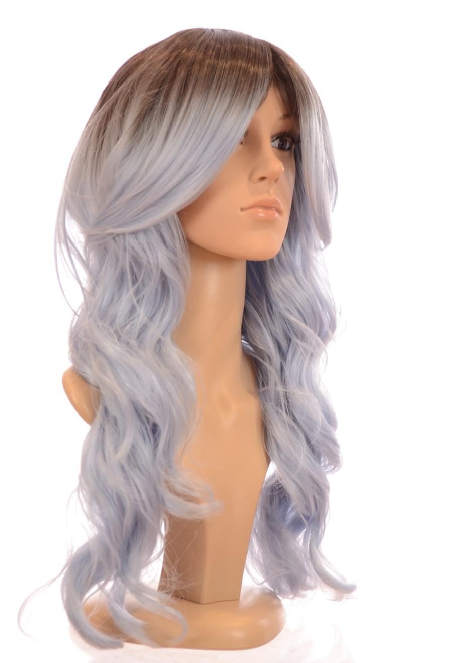 Kesha Rooted Pastel Blue Long Wavy Wig