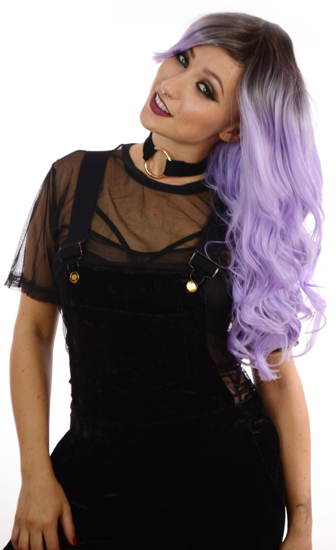 Kesha Rooted Pastel Purple Wavy Wig
