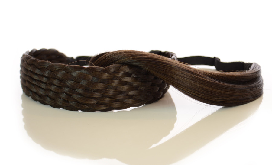 Elasticated Rattan Headbands Dark Chocolate Brown