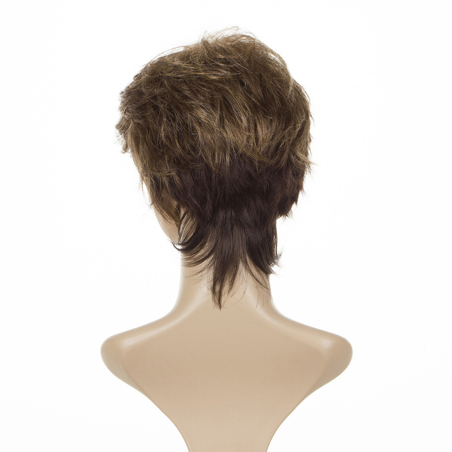 Elizabeth Feather Brown Mature Style Cropped Short Wig
