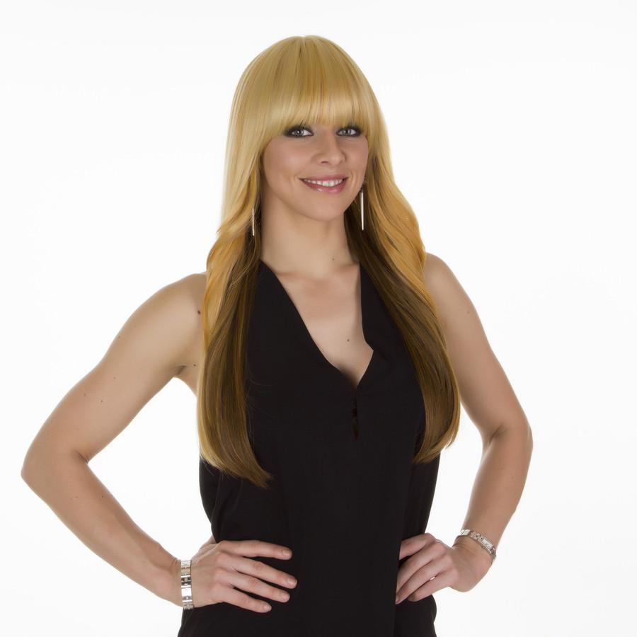 Solange Caramel Brown Long Straight Wig with Fringe