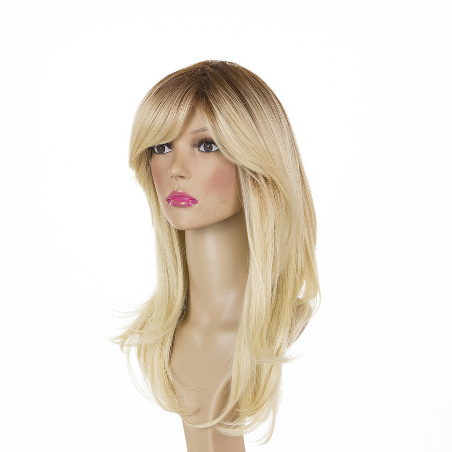 Rooted Blonde Face Framing Sideswept Layered Wig