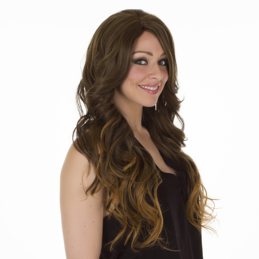 Scherzy Hawaiian Brown Ombre Long Wavy Wig