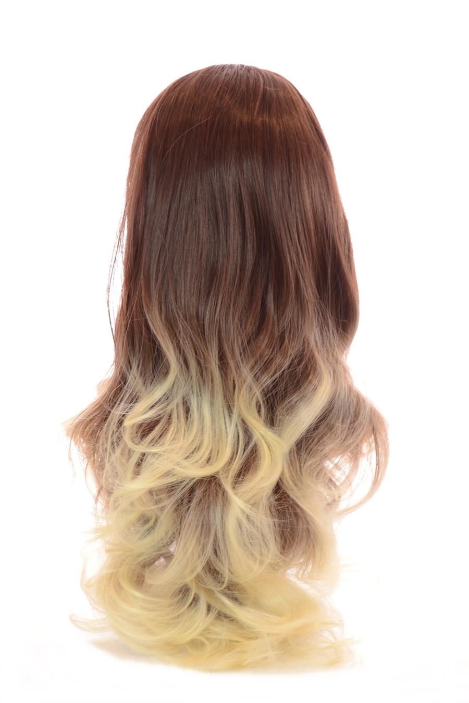 Tihaira Wave Auburn Creme Ombre Clip In Half Wig