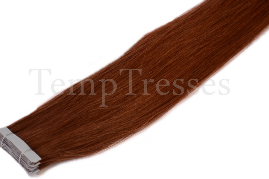 Shade 33 Brown 100% Human Hair Tape In Hair Extensions