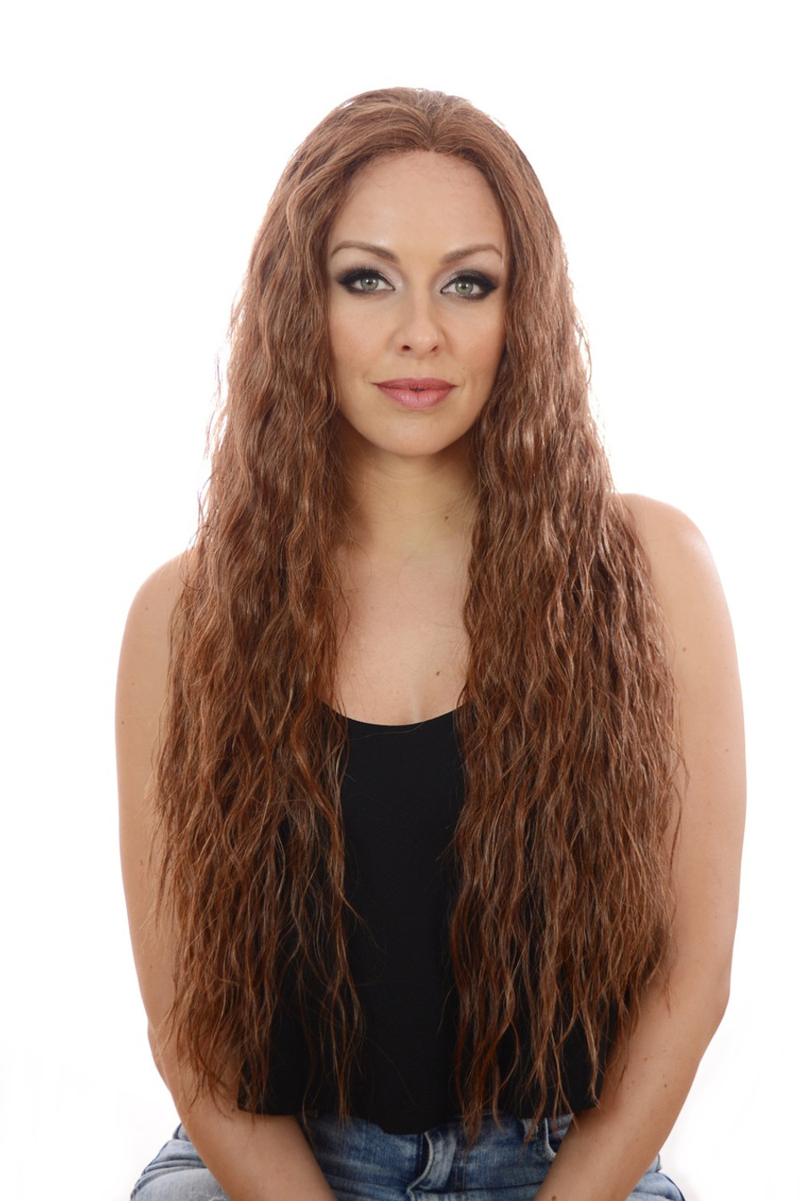 Avril Whisper Brown Crimped Beach Wavy Wig