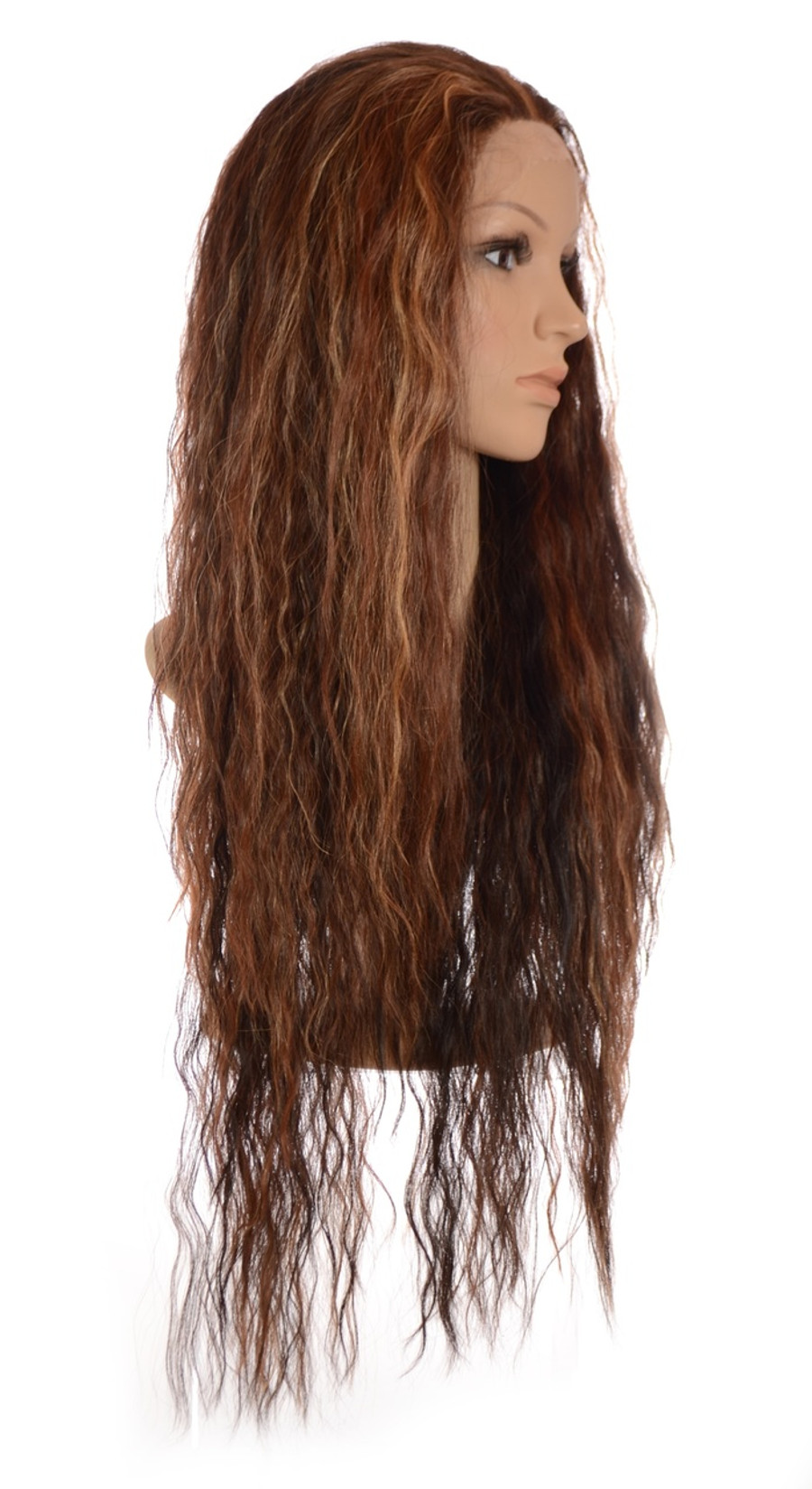 Avril Whisper Brown Long Crimped Wig