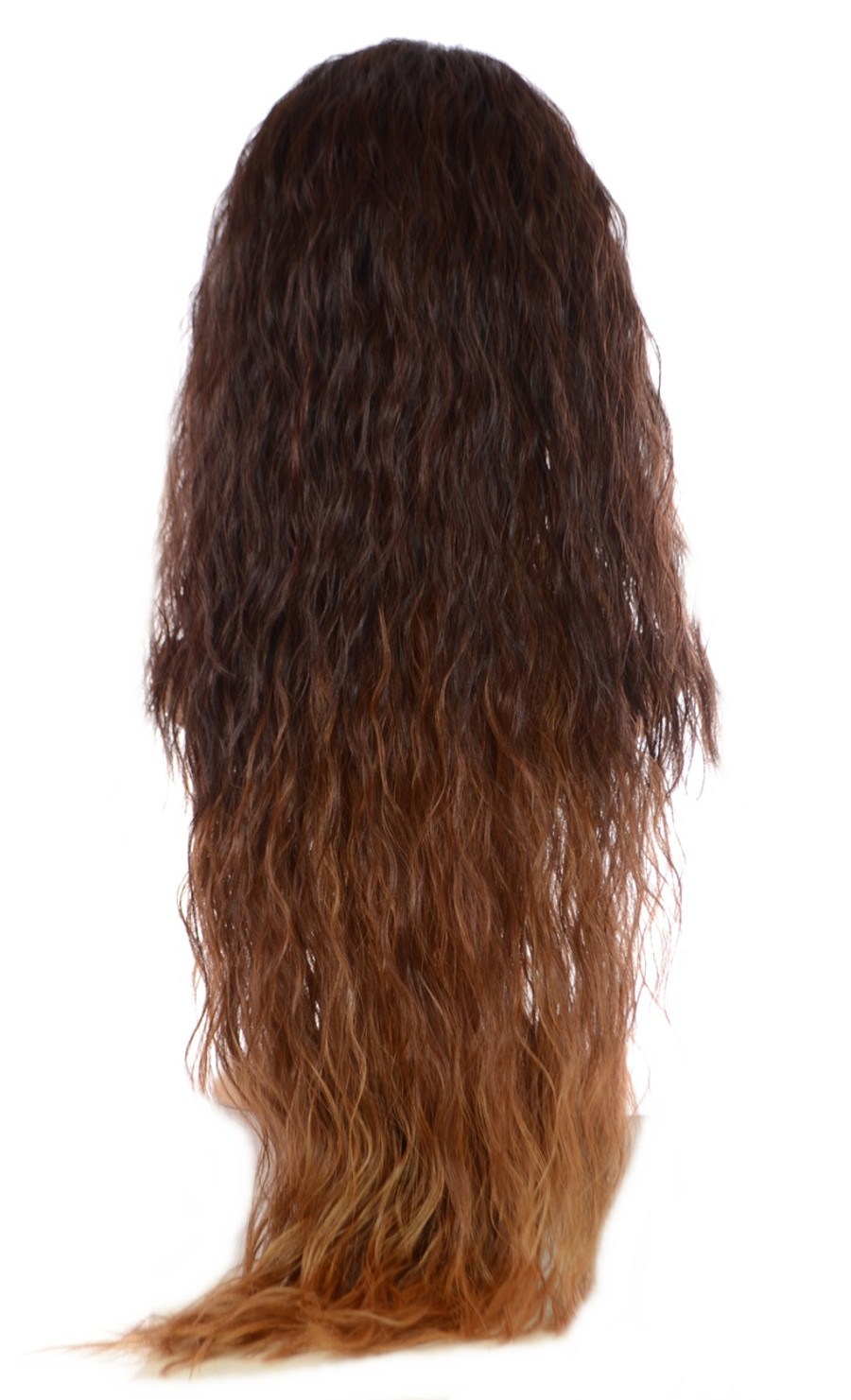 V Tress Crimp Hair Extensions Half Wig Dark Toffee Chocolate Brown